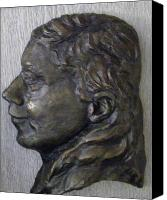 Portraits Reliefs Canvas Prints - Portrait in Bronze Canvas Print by Willoughby  Senior