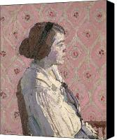 Sat Canvas Prints - Portrait in Profile Canvas Print by Harold Gilman