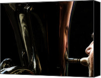 Tuba Canvas Prints - Portrait in Tuba Canvas Print by Steven  Digman