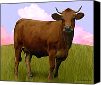 Cow Mixed Media Canvas Prints - Portrait of a Cow Canvas Print by Snake Jagger