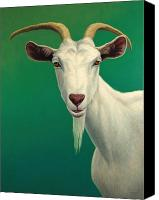 Farm Tapestries Textiles Canvas Prints - Portrait of a Goat Canvas Print by James W Johnson