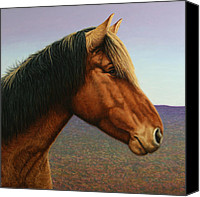 Pony Painting Canvas Prints - Portrait of a Horse Canvas Print by James W Johnson