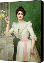 20th Century Canvas Prints - Portrait of a lady holding a fan Canvas Print by Jules-Charles Aviat