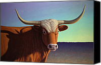 Cow Canvas Prints - Portrait of a Longhorn Canvas Print by James W Johnson