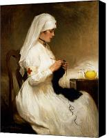 White Canvas Prints - Portrait of a Nurse from the Red Cross Canvas Print by Gabriel Emile Niscolet
