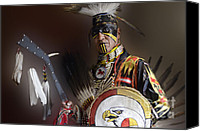 Pow Wow Canvas Prints - Portrait Of A Proud Man 2 Canvas Print by Bob Christopher