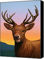 Buck Canvas Prints - Portrait of a Red Deer Canvas Print by James W Johnson