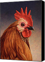 Farm Tapestries Textiles Canvas Prints - Portrait of a Rooster Canvas Print by James W Johnson