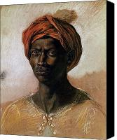 Pastel On Paper Canvas Prints - Portrait of a Turk in a Turban Canvas Print by Ferdinand Victor Eugene Delacroix