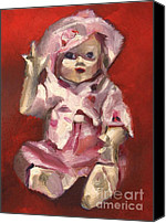 Doll Canvas Prints - Portrait of a vintage doll Canvas Print by Tommervik