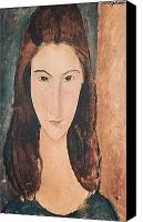 Modigliani Canvas Prints - Portrait of a Young Girl Canvas Print by Amedeo Modigliani