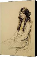 Posing Drawings Canvas Prints - Portrait of a Young Girl Canvas Print by Frederick Pegram