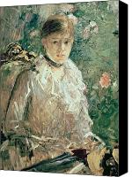 Choker Canvas Prints - Portrait of a Young Lady Canvas Print by Berthe Morisot