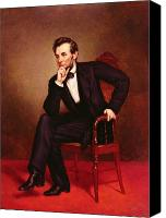 Pensive Canvas Prints - Portrait of Abraham Lincoln Canvas Print by George Peter Alexander Healy