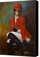 Equestrian Pastels Canvas Prints - Portrait of an Equestrian Canvas Print by Harvie Brown