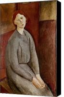 Modigliani Canvas Prints - Portrait of Annie Bjarne Canvas Print by Amedeo Modigliani