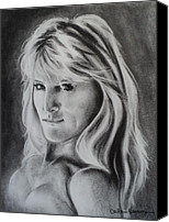 Charcoal Drawing Canvas Prints - Portrait of  Carla Canvas Print by Carla Carson