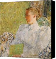 Library Painting Canvas Prints - Portrait of Edith Blaney Canvas Print by Childe Hassam