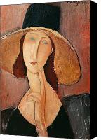 Modigliani Canvas Prints - Portrait of Jeanne Hebuterne in a large hat Canvas Print by Amedeo Modigliani
