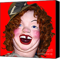Dolls Canvas Prints - Portrait of Laffing Sal - Square - 7D14361 - Red Canvas Print by Wingsdomain Art and Photography
