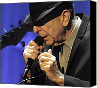 Leonard Cohen Canvas Prints - Portrait of Leonard Cohen in Concert Canvas Print by John C Bourne