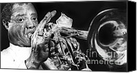 Charcoal Drawing Canvas Prints - Portrait of Louie Armstrong Canvas Print by Carrie Jackson
