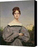 Half-length Painting Canvas Prints - Portrait of Louise Vernet Canvas Print by Emile Jean Horace Vernet