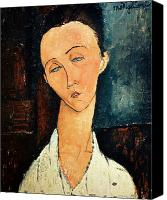 Modigliani Canvas Prints - Portrait of Lunia Czechowska Canvas Print by Amedeo Modigliani