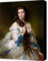 Gown Canvas Prints - Portrait of Madame Rimsky Korsakov Canvas Print by Franz Xaver Winterhalter