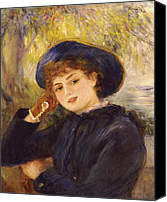 Glove Painting Canvas Prints - Portrait of Mademoiselle Demarsy Canvas Print by Pierre Auguste Renoir