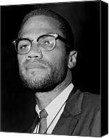 Malcolm X Canvas Prints - Portrait Of Malcolm X. 1964-65 Canvas Print by Everett