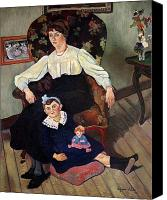 Sat Canvas Prints - Portrait of Marie Coca and her Daughter Canvas Print by Marie Clementine Valadon