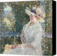 Sat Canvas Prints - Portrait of Miss Weir Canvas Print by Childe Hassam