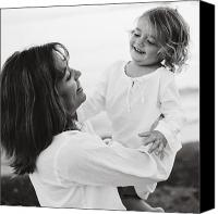 Caucasian Appearance Canvas Prints - Portrait Of Mother And Daughter Canvas Print by Michelle Quance