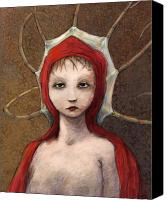 Red Mixed Media Canvas Prints - Portrait of Octavia Canvas Print by Ethan Harris