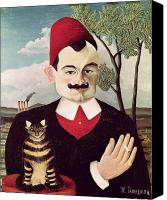 Oil Cat  Canvas Prints - Portrait of Pierre Loti Canvas Print by Henri Rousseau