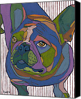 Dog Canvas Prints - Portrait of Pop Secret the French Bulldog Canvas Print by David  Hearn