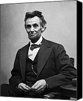 Black And White Photo Canvas Prints - Portrait of President Abraham Lincoln Canvas Print by International  Images