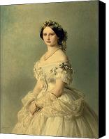 Necklace  Canvas Prints - Portrait of Princess of Baden Canvas Print by Franz Xaver Winterhalter
