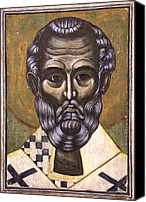 Icon Byzantine Canvas Prints - Portrait of Saint Nicholas Canvas Print by Iconos Art