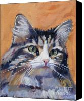 Animal Greeting Card Canvas Prints - Portrait of Squeaky Canvas Print by Deb Putnam