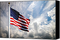 White Canvas Prints - Portrait of The United States of America Flag Canvas Print by Bob Orsillo