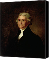 Half-length Painting Canvas Prints - Portrait of Thomas Jefferson Canvas Print by Asher Brown Durand
