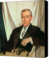 Great Painting Canvas Prints - Portrait of Woodrow Wilson Canvas Print by Sir William Orpen