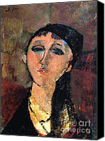 Modigliani Canvas Prints - Portrait of Young Girl  Louise Canvas Print by Pg Reproductions