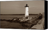 Portsmouth Nh Canvas Prints - Portsmouth Harbor Lighthouse Canvas Print by Skip Willits