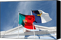 Flagpole Canvas Prints - Portugal and Azores flags Canvas Print by Gaspar Avila
