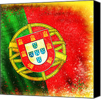 Abstract Map Pastels Canvas Prints - Portugal Flag  Canvas Print by Setsiri Silapasuwanchai