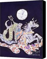 Night Tapestries - Textiles Canvas Prints - Poseidon Rides the Sea on a Moonlight Night Canvas Print by Carol  Law Conklin