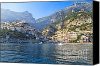 Watchtower Canvas Prints - Positano Harbor View Canvas Print by George Oze